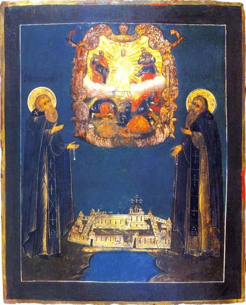 Святые преподобные Савватий и Зосима Соловецких в молении ко господу, на фоне Спасо-Преображенского монастыря.